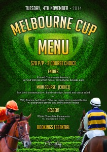 Clovelly Melbourne Cup Menu